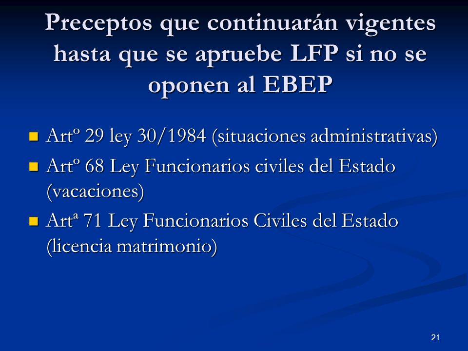 21 Preceptos que continuarán vigentes hasta que se apruebe LFP si no se oponen al EBEP Artº 29 ley 30/1984 (situaciones administrativas) Artº 29 ley 3