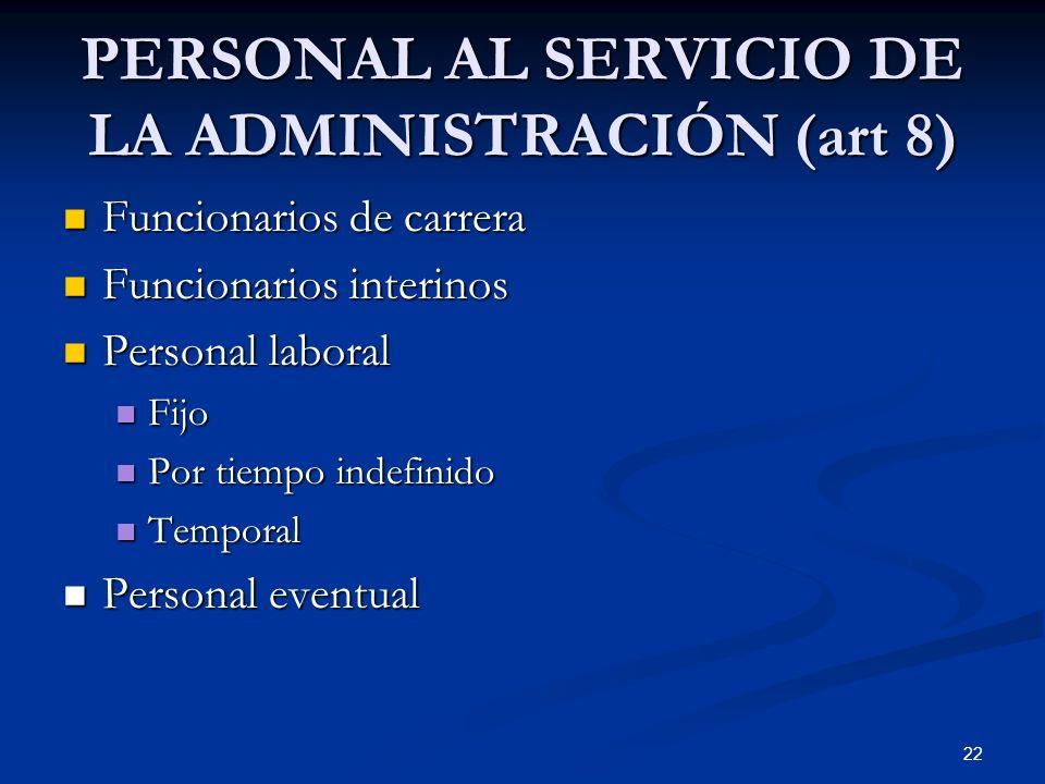 22 PERSONAL AL SERVICIO DE LA ADMINISTRACIÓN (art 8) Funcionarios de carrera Funcionarios de carrera Funcionarios interinos Funcionarios interinos Per