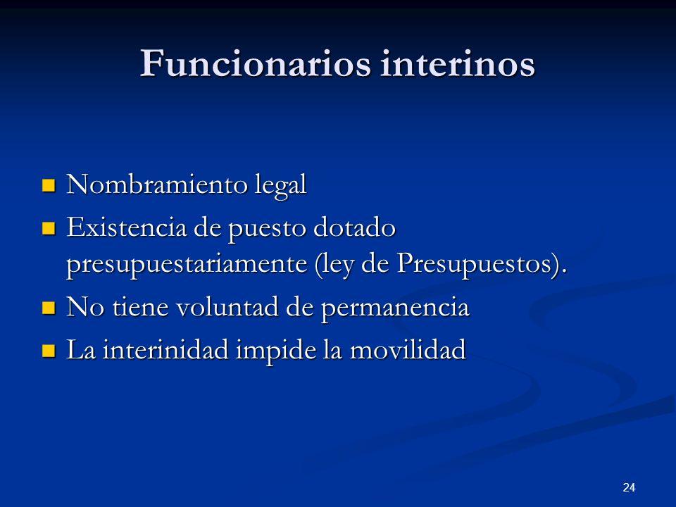 24 Funcionarios interinos Nombramiento legal Nombramiento legal Existencia de puesto dotado presupuestariamente (ley de Presupuestos). Existencia de p