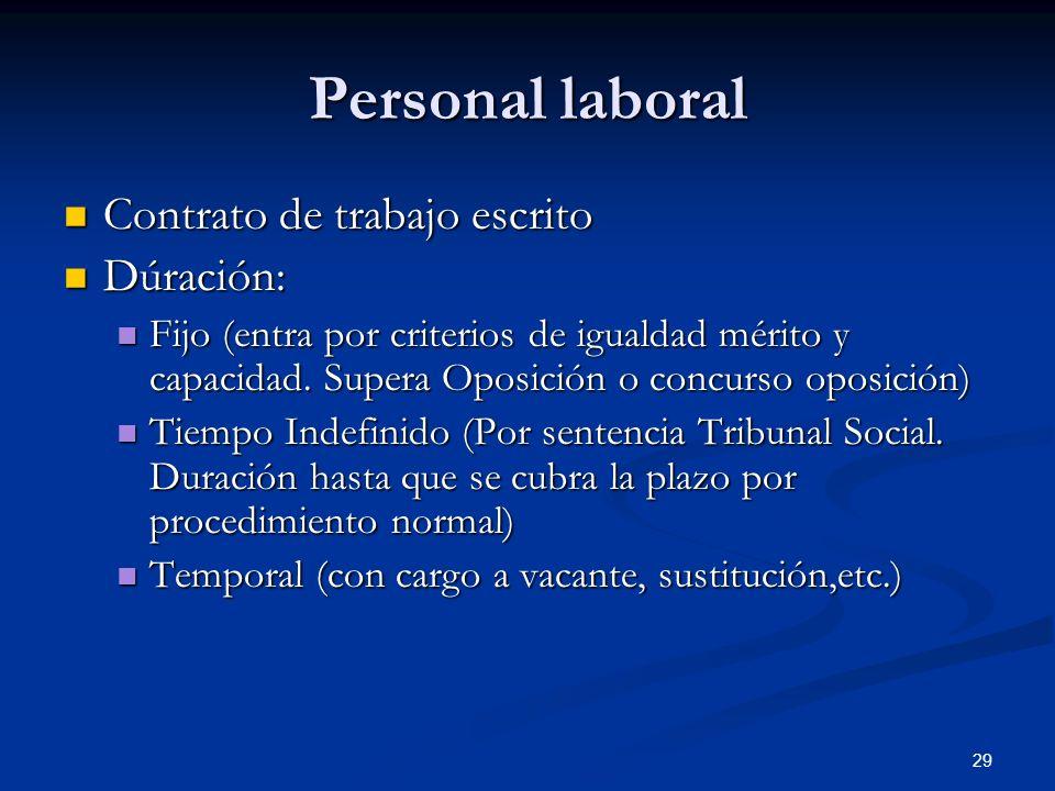 29 Personal laboral Contrato de trabajo escrito Contrato de trabajo escrito Dúración: Dúración: Fijo (entra por criterios de igualdad mérito y capacid