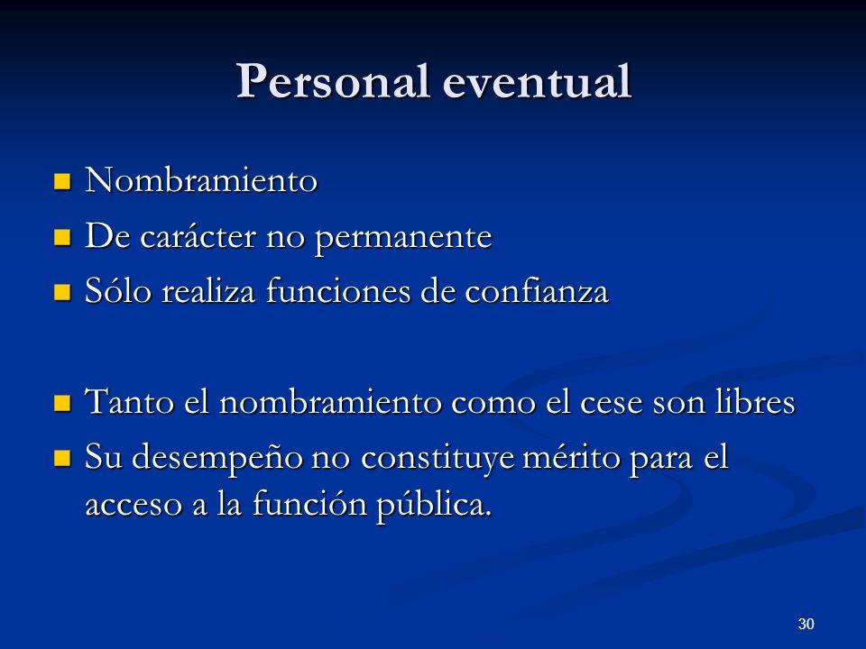 30 Personal eventual Nombramiento Nombramiento De carácter no permanente De carácter no permanente Sólo realiza funciones de confianza Sólo realiza fu
