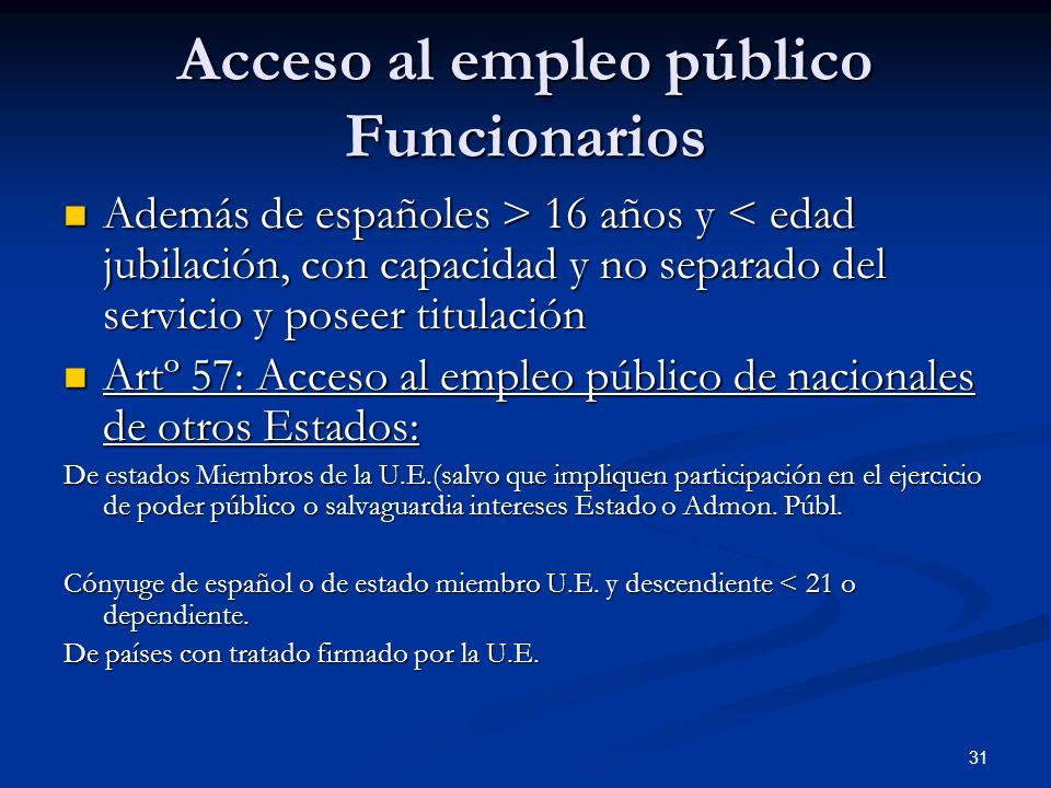 31 Acceso al empleo público Funcionarios Además de españoles > 16 años y 16 años y < edad jubilación, con capacidad y no separado del servicio y posee