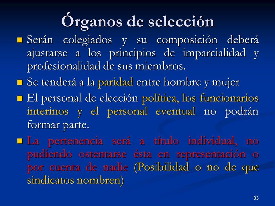 33 Órganos de selección Serán colegiados y su composición deberá ajustarse a los principios de imparcialidad y profesionalidad de sus miembros. Serán