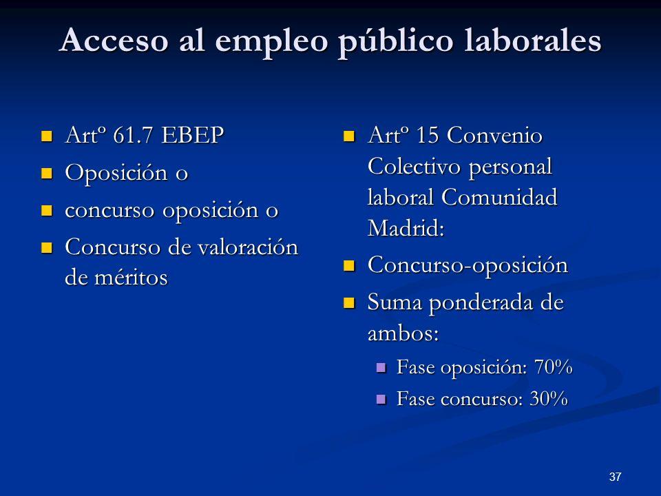 37 Acceso al empleo público laborales Artº 61.7 EBEP Artº 61.7 EBEP Oposición o Oposición o concurso oposición o concurso oposición o Concurso de valo
