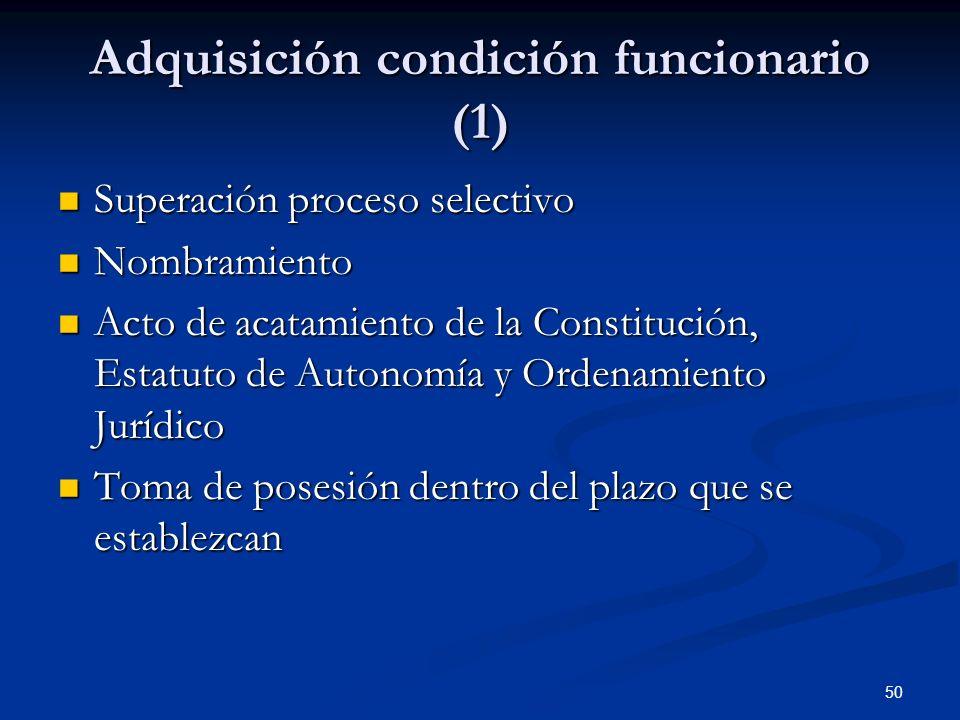 50 Adquisición condición funcionario (1) Superación proceso selectivo Superación proceso selectivo Nombramiento Nombramiento Acto de acatamiento de la