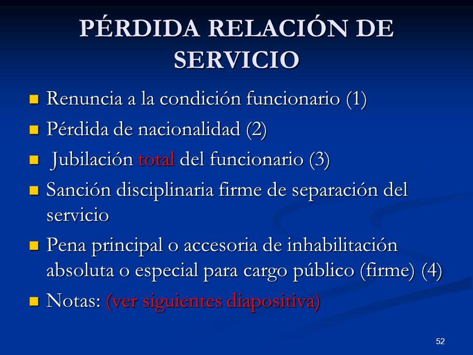 52 PÉRDIDA RELACIÓN DE SERVICIO Renuncia a la condición funcionario (1) Renuncia a la condición funcionario (1) Pérdida de nacionalidad (2) Pérdida de