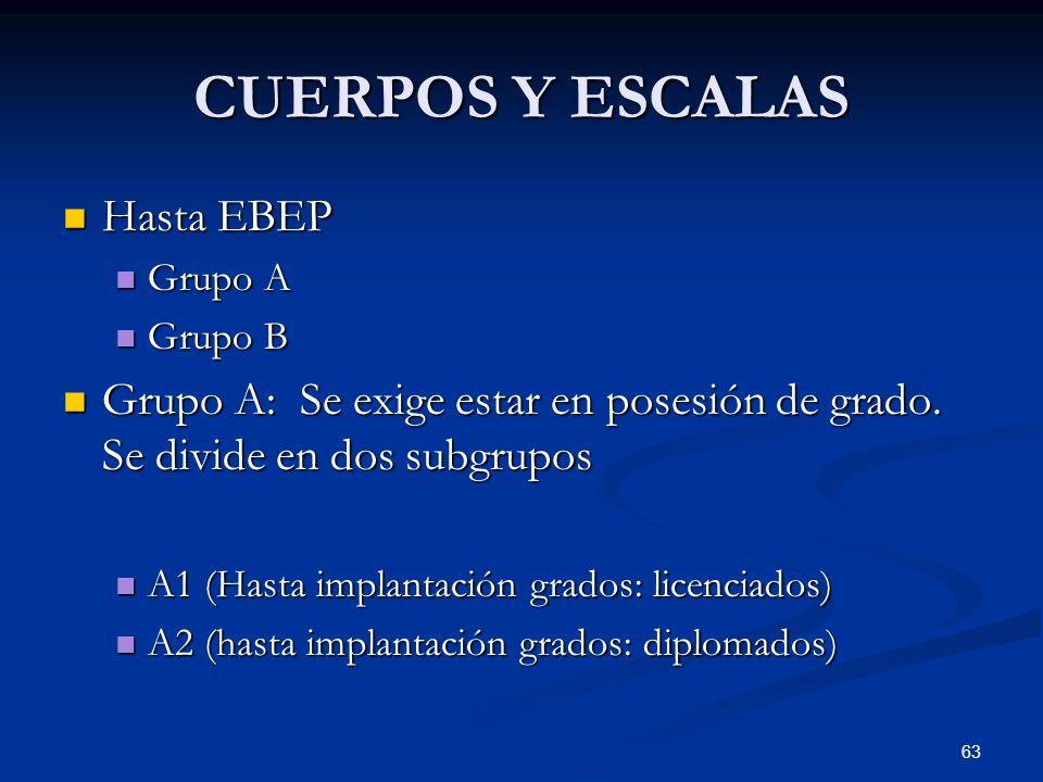 63 CUERPOS Y ESCALAS Hasta EBEP Hasta EBEP Grupo A Grupo A Grupo B Grupo B Grupo A: Se exige estar en posesión de grado. Se divide en dos subgrupos Gr