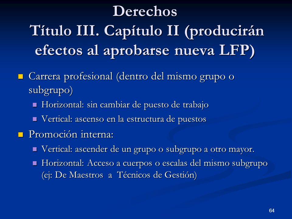 64 Derechos Título III. Capítulo II (producirán efectos al aprobarse nueva LFP) Carrera profesional (dentro del mismo grupo o subgrupo) Carrera profes