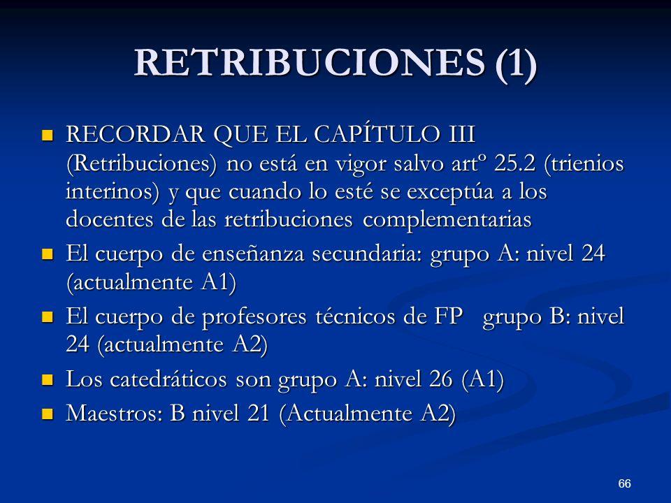 66 RETRIBUCIONES (1) RECORDAR QUE EL CAPÍTULO III (Retribuciones) no está en vigor salvo artº 25.2 (trienios interinos) y que cuando lo esté se except