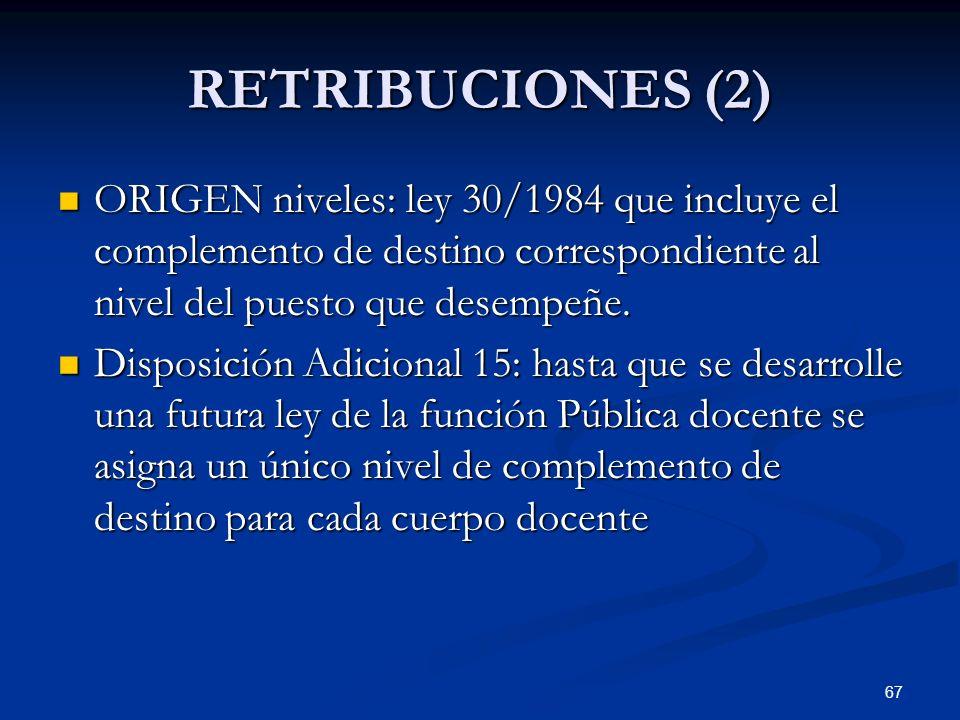 67 RETRIBUCIONES (2) ORIGEN niveles: ley 30/1984 que incluye el complemento de destino correspondiente al nivel del puesto que desempeñe. ORIGEN nivel