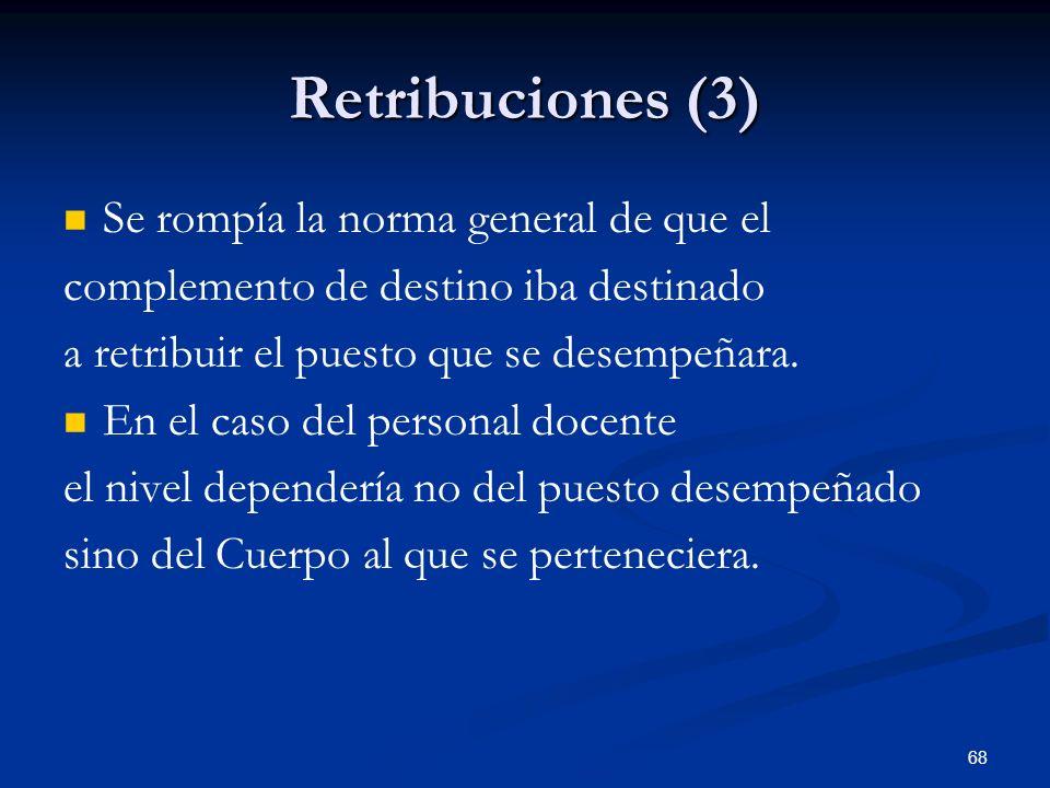 68 Retribuciones (3) Se rompía la norma general de que el complemento de destino iba destinado a retribuir el puesto que se desempeñara. En el caso de