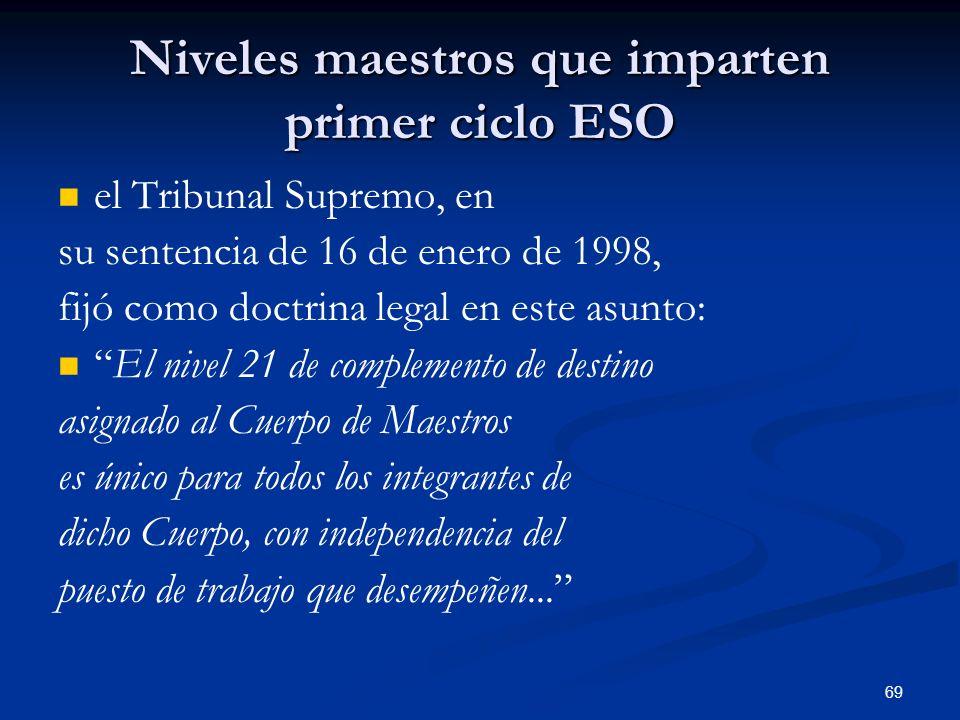 69 Niveles maestros que imparten primer ciclo ESO el Tribunal Supremo, en su sentencia de 16 de enero de 1998, fijó como doctrina legal en este asunto