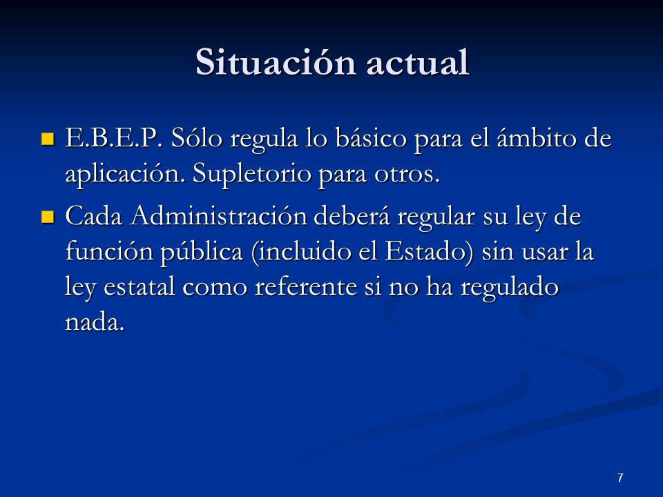 7 Situación actual E.B.E.P. Sólo regula lo básico para el ámbito de aplicación. Supletorio para otros. E.B.E.P. Sólo regula lo básico para el ámbito d