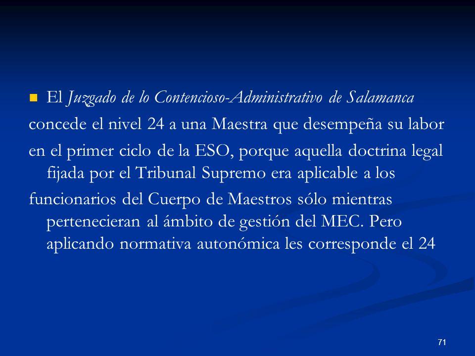 71 El Juzgado de lo Contencioso-Administrativo de Salamanca concede el nivel 24 a una Maestra que desempeña su labor en el primer ciclo de la ESO, por