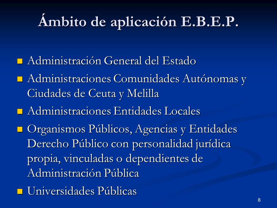 8 Ámbito de aplicación E.B.E.P. Administración General del Estado Administración General del Estado Administraciones Comunidades Autónomas y Ciudades