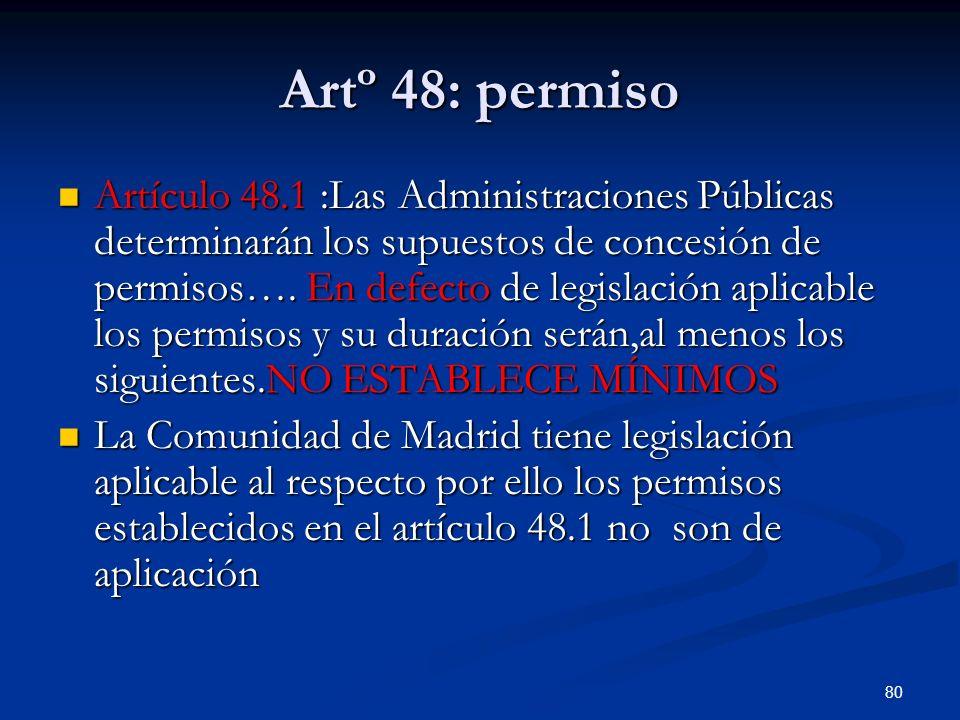 80 Artº 48: permiso Artículo 48.1 :Las Administraciones Públicas determinarán los supuestos de concesión de permisos…. En defecto de legislación aplic
