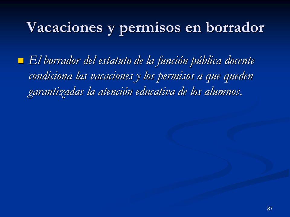 87 Vacaciones y permisos en borrador El borrador del estatuto de la función pública docente condiciona las vacaciones y los permisos a que queden gara