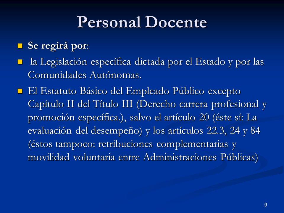 9 Personal Docente Se regirá por: Se regirá por: la Legislación específica dictada por el Estado y por las Comunidades Autónomas. la Legislación espec