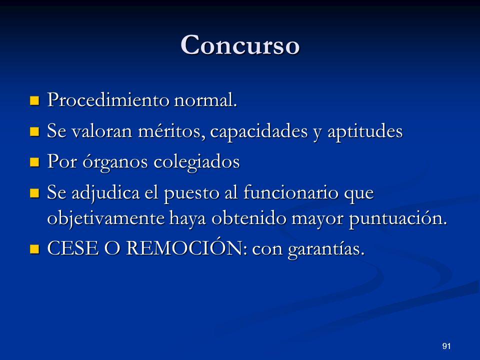 91 Concurso Procedimiento normal. Procedimiento normal. Se valoran méritos, capacidades y aptitudes Se valoran méritos, capacidades y aptitudes Por ór