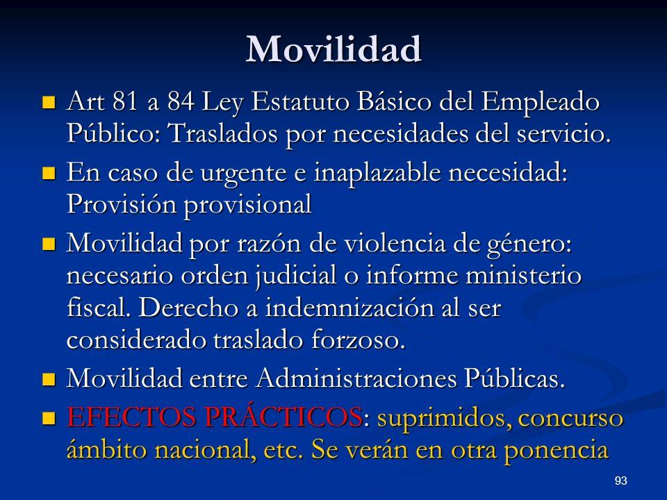 93 Movilidad Art 81 a 84 Ley Estatuto Básico del Empleado Público: Traslados por necesidades del servicio. Art 81 a 84 Ley Estatuto Básico del Emplead