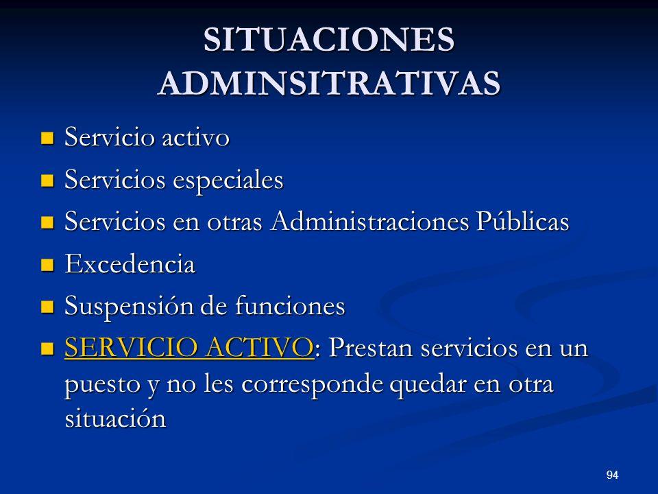 94 SITUACIONES ADMINSITRATIVAS Servicio activo Servicio activo Servicios especiales Servicios especiales Servicios en otras Administraciones Públicas