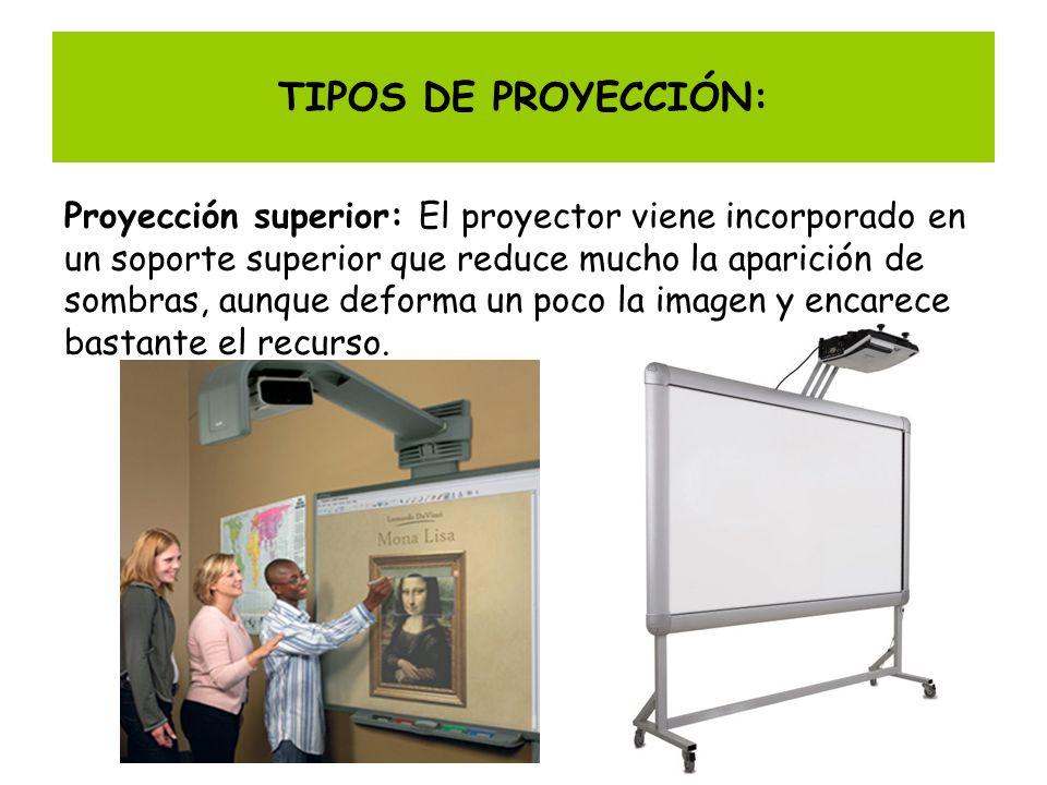 TIPOS DE PROYECCIÓN: Proyección superior: El proyector viene incorporado en un soporte superior que reduce mucho la aparición de sombras, aunque defor
