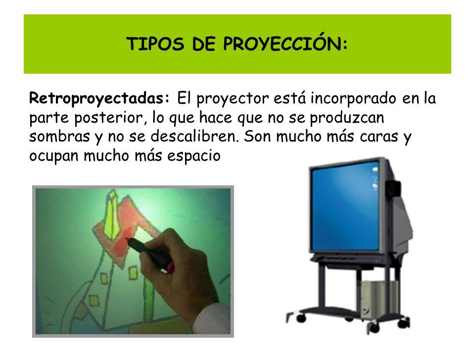 TIPOS DE PROYECCIÓN: Retroproyectadas: El proyector está incorporado en la parte posterior, lo que hace que no se produzcan sombras y no se descalibre