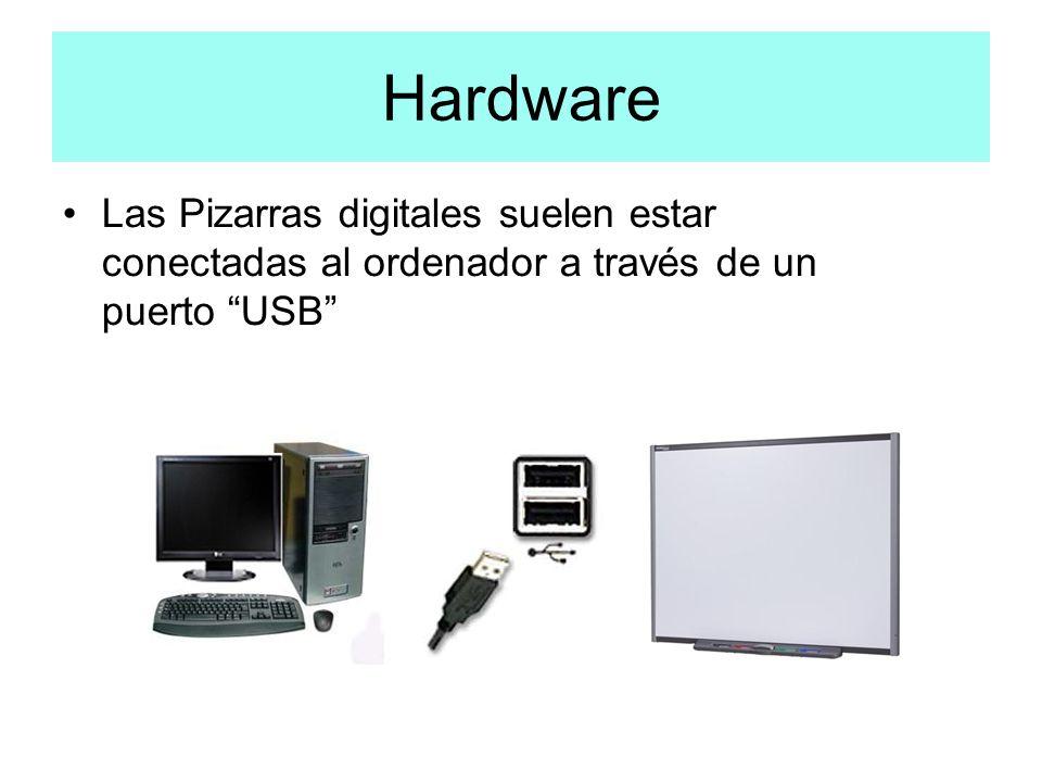 Hardware Las Pizarras digitales suelen estar conectadas al ordenador a través de un puerto USB