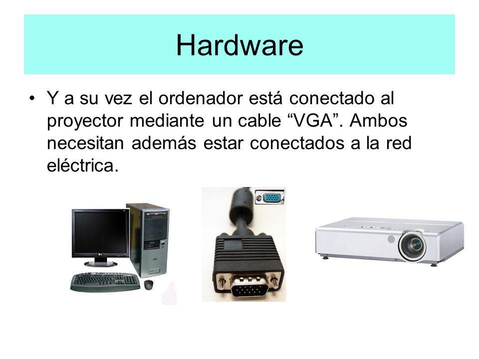 Hardware Y a su vez el ordenador está conectado al proyector mediante un cable VGA. Ambos necesitan además estar conectados a la red eléctrica.