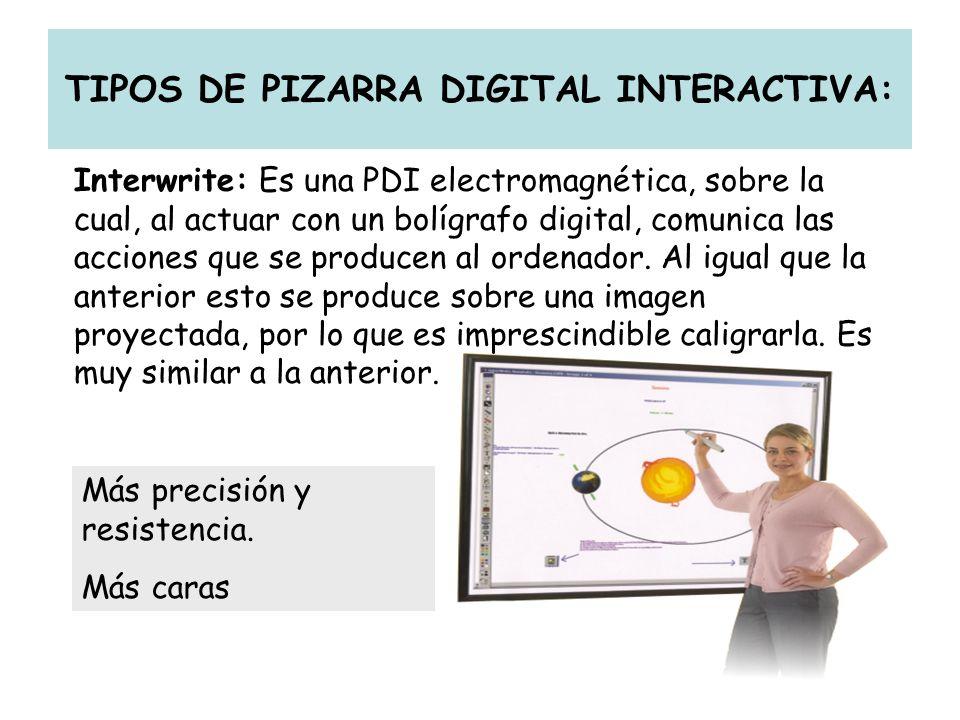TIPOS DE PIZARRA DIGITAL INTERACTIVA: Interwrite: Es una PDI electromagnética, sobre la cual, al actuar con un bolígrafo digital, comunica las accione