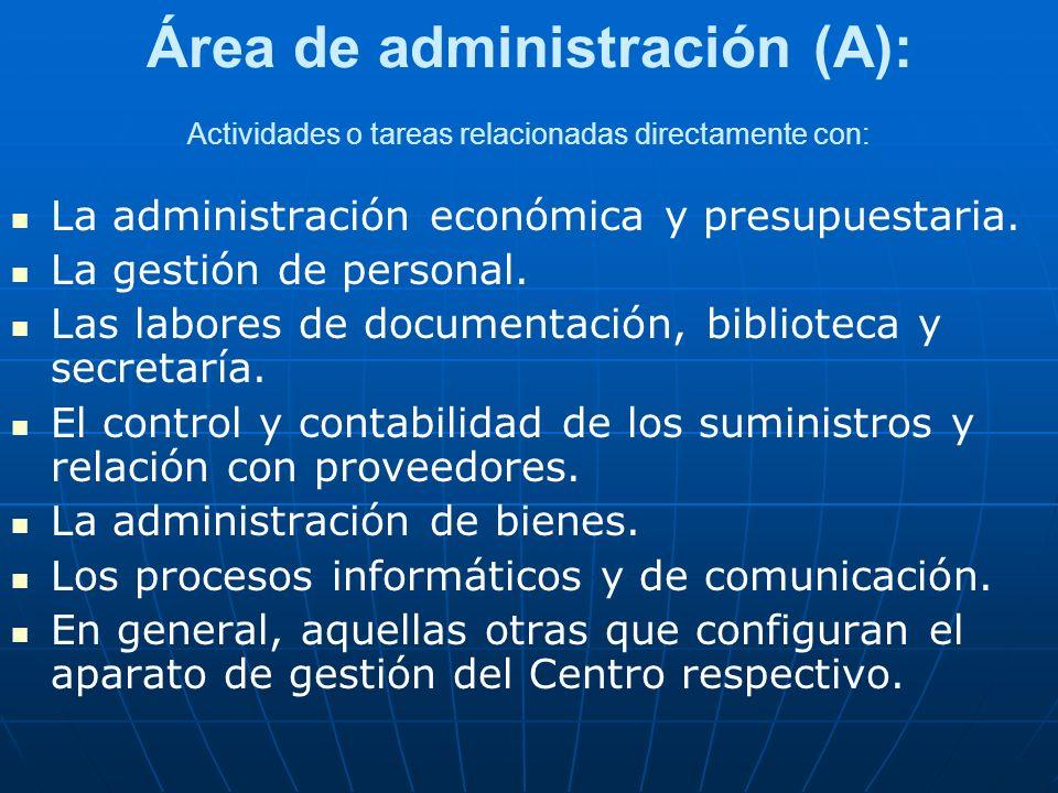 Área de administración (A): Actividades o tareas relacionadas directamente con: La administración económica y presupuestaria. La gestión de personal.