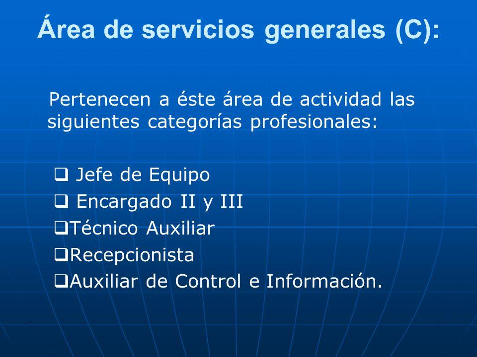 Área de servicios generales (C): Pertenecen a éste área de actividad las siguientes categorías profesionales: Jefe de Equipo Encargado II y III Técnic
