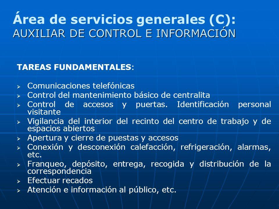 TAREAS FUNDAMENTALES: Comunicaciones telefónicas Control del mantenimiento básico de centralita Control de accesos y puertas. Identificación personal