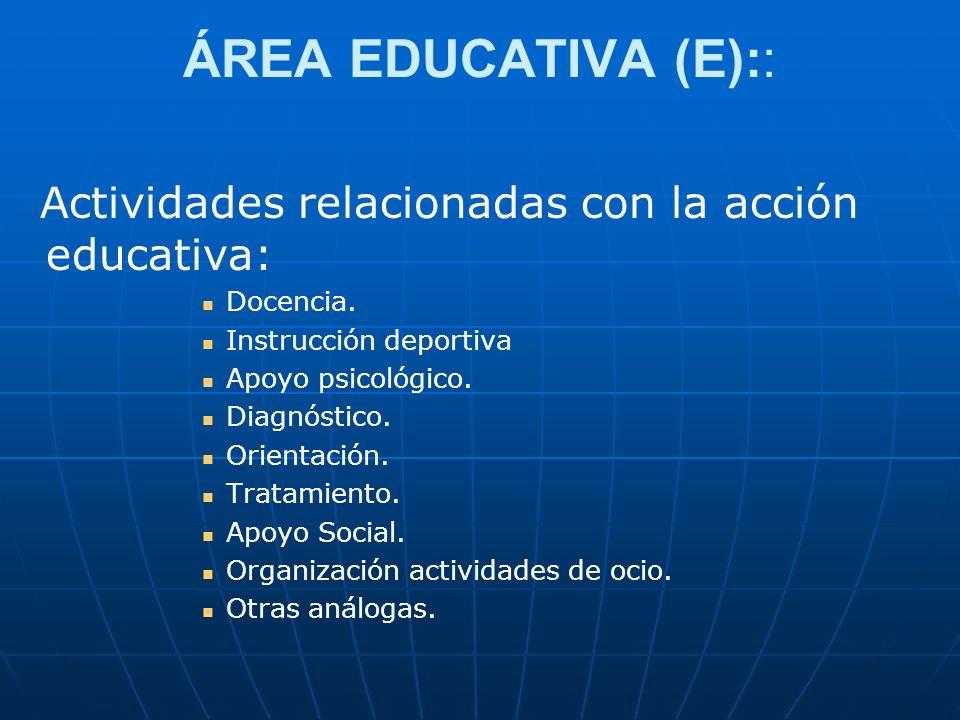 ÁREA EDUCATIVA (E):: Actividades relacionadas con la acción educativa: Docencia. Instrucción deportiva Apoyo psicológico. Diagnóstico. Orientación. Tr