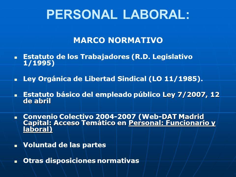 PERSONAL LABORAL: MARCO NORMATIVO Estatuto de los Trabajadores (R.D. Legislativo 1/1995) Ley Orgánica de Libertad Sindical (LO 11/1985). Ley 7/2007, 1