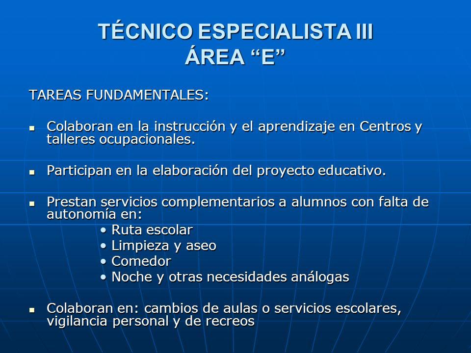 TÉCNICO ESPECIALISTA III ÁREA E TAREAS FUNDAMENTALES: Colaboran en la instrucción y el aprendizaje en Centros y talleres ocupacionales. Colaboran en l
