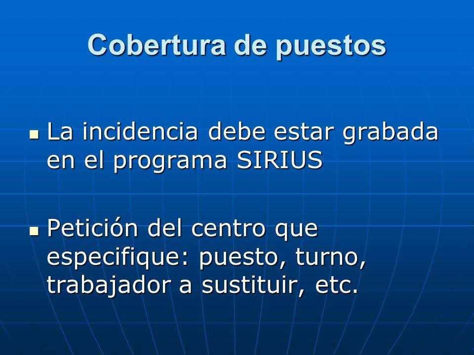 Cobertura de puestos La incidencia debe estar grabada en el programa SIRIUS La incidencia debe estar grabada en el programa SIRIUS Petición del centro