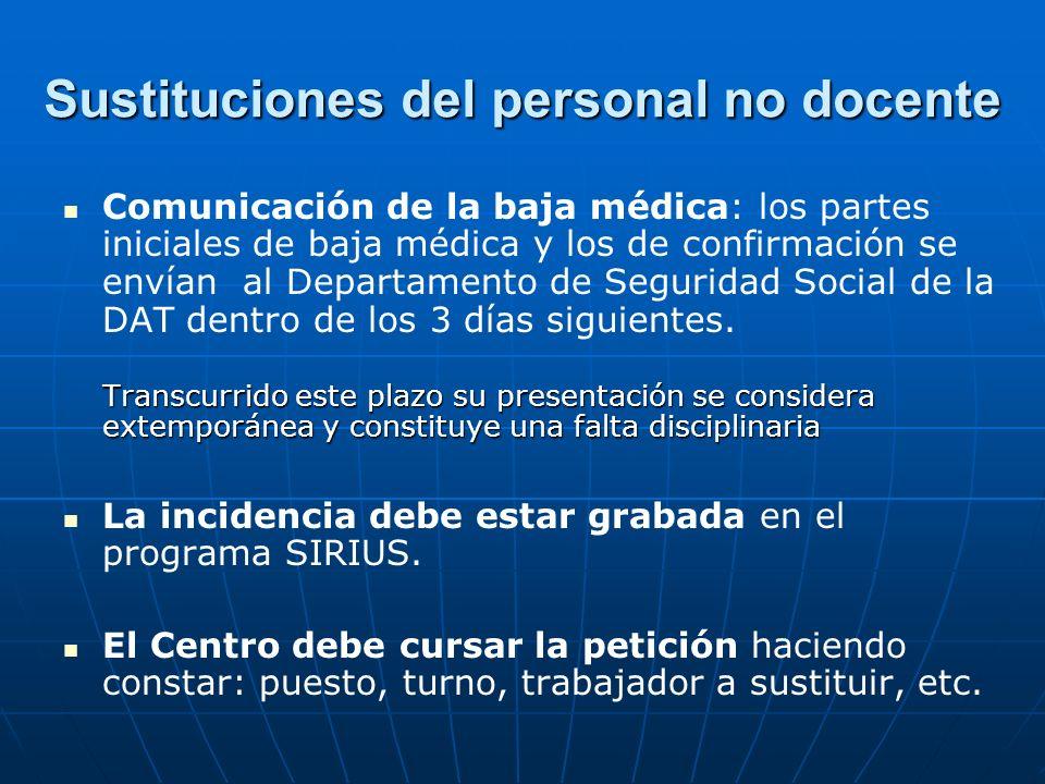 Sustituciones del personal no docente Comunicación de la baja médica: los partes iniciales de baja médica y los de confirmación se envían al Departame