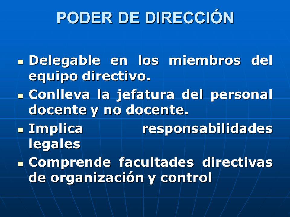 PODER DE DIRECCIÓN Delegable en los miembros del equipo directivo. Delegable en los miembros del equipo directivo. Conlleva la jefatura del personal d