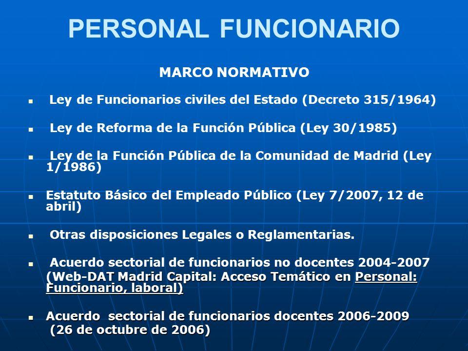 PERSONAL FUNCIONARIO MARCO NORMATIVO Ley de Funcionarios civiles del Estado (Decreto 315/1964) Ley de Reforma de la Función Pública (Ley 30/1985) Ley