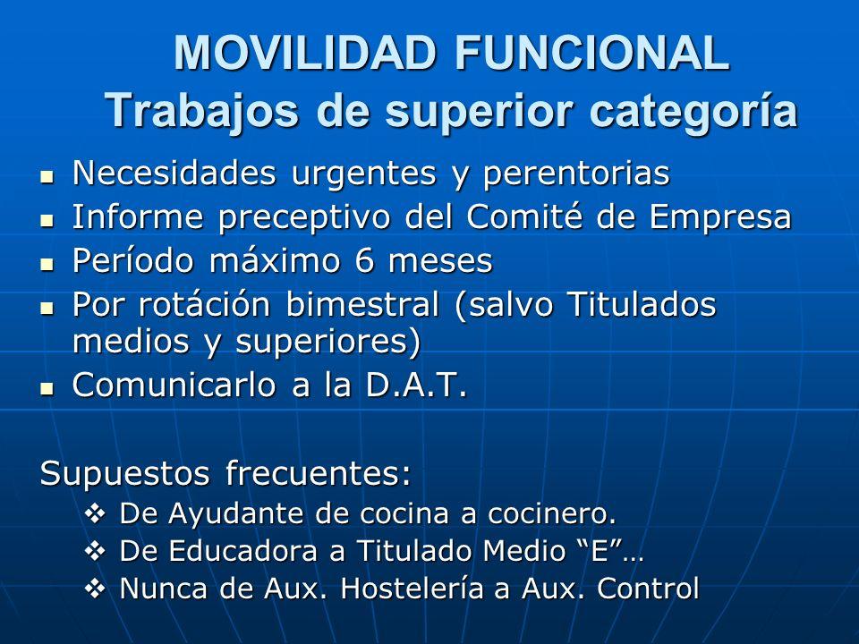 MOVILIDAD FUNCIONAL Trabajos de superior categoría Necesidades urgentes y perentorias Necesidades urgentes y perentorias Informe preceptivo del Comité
