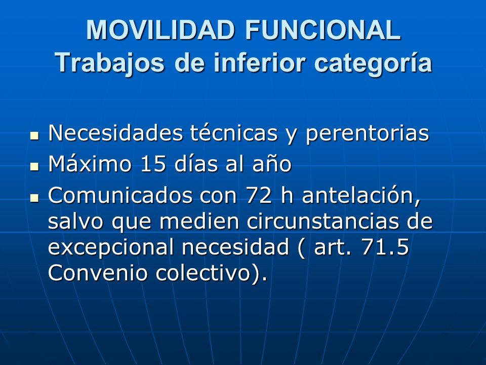 MOVILIDAD FUNCIONAL Trabajos de inferior categoría Necesidades técnicas y perentorias Necesidades técnicas y perentorias Máximo 15 días al año Máximo
