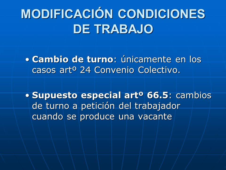 MODIFICACIÓN CONDICIONES DE TRABAJO Cambio de turno: únicamente en los casos artº 24 Convenio Colectivo.Cambio de turno: únicamente en los casos artº