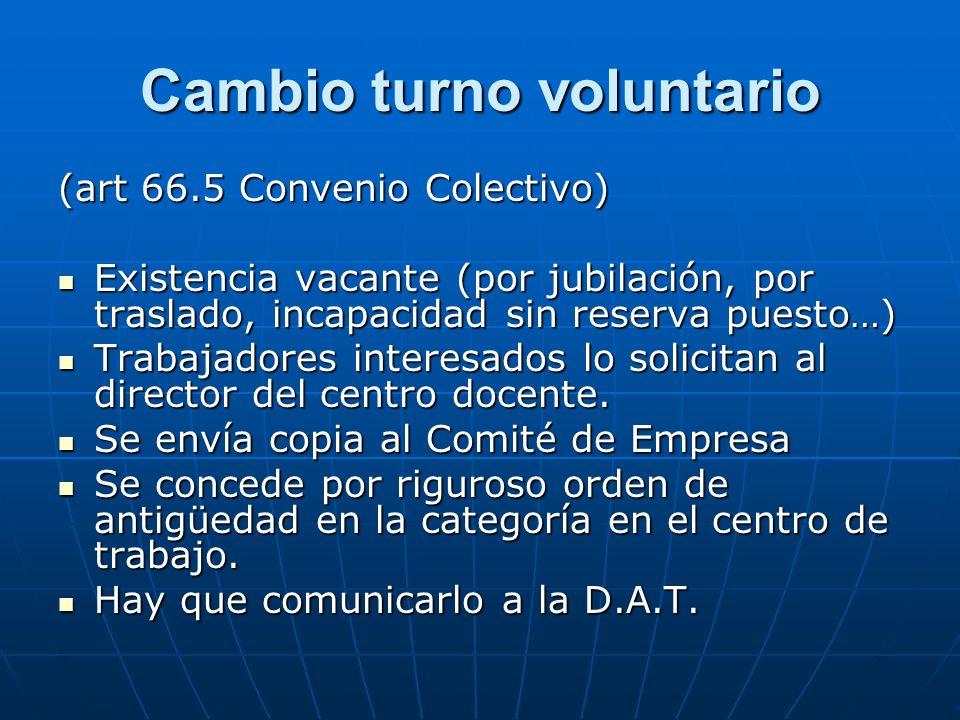 Cambio turno voluntario (art 66.5 Convenio Colectivo) Existencia vacante (por jubilación, por traslado, incapacidad sin reserva puesto…) Existencia va