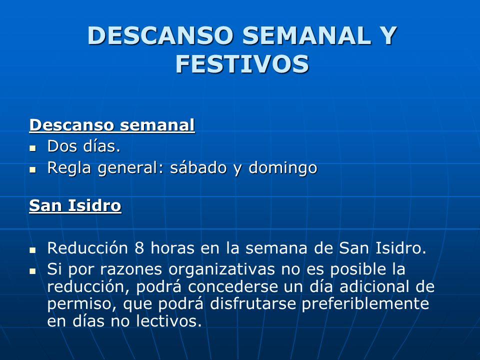 Descanso semanal Dos días. Dos días. Regla general: sábado y domingo Regla general: sábado y domingo San Isidro Reducción 8 horas en la semana de San