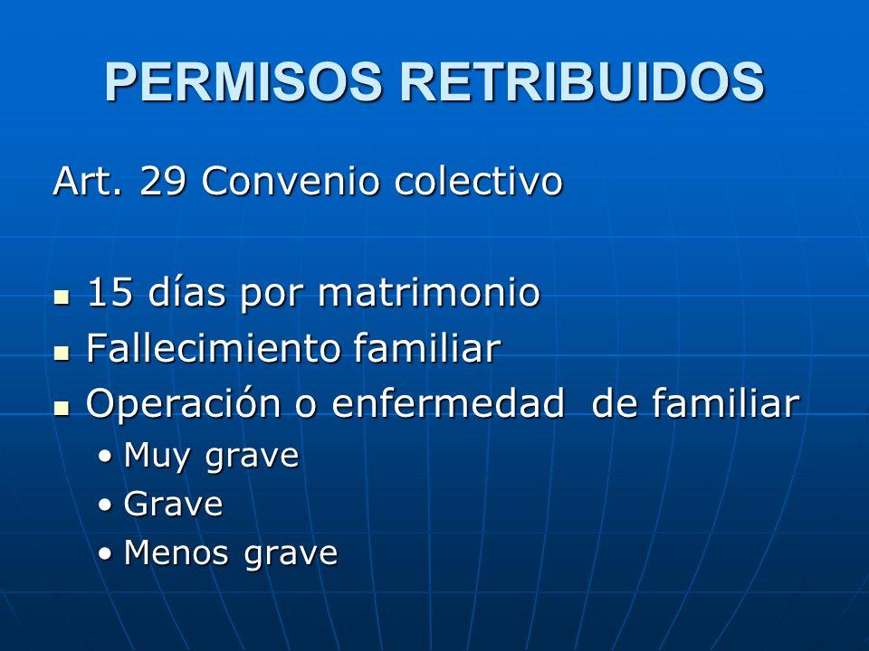PERMISOS RETRIBUIDOS Art. 29 Convenio colectivo 15 días por matrimonio 15 días por matrimonio Fallecimiento familiar Fallecimiento familiar Operación