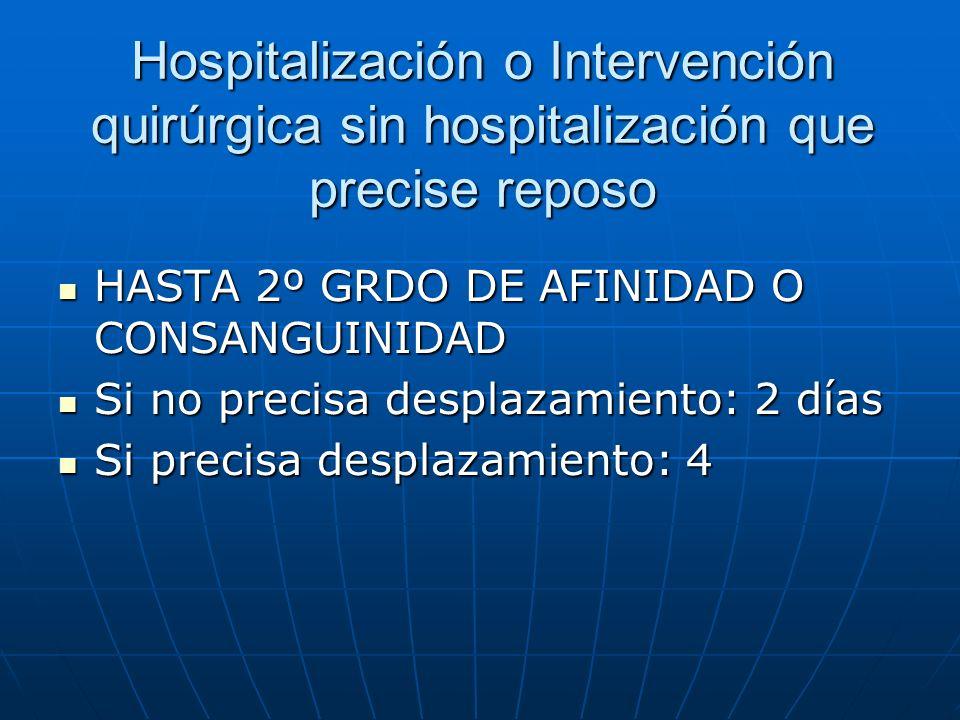 Hospitalización o Intervención quirúrgica sin hospitalización que precise reposo HASTA 2º GRDO DE AFINIDAD O CONSANGUINIDAD HASTA 2º GRDO DE AFINIDAD
