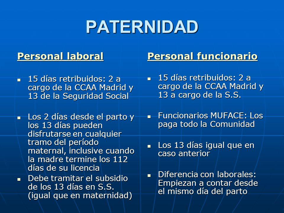PATERNIDAD Personal laboral 15 días retribuidos: 2 a cargo de la CCAA Madrid y 13 de la Seguridad Social 15 días retribuidos: 2 a cargo de la CCAA Mad