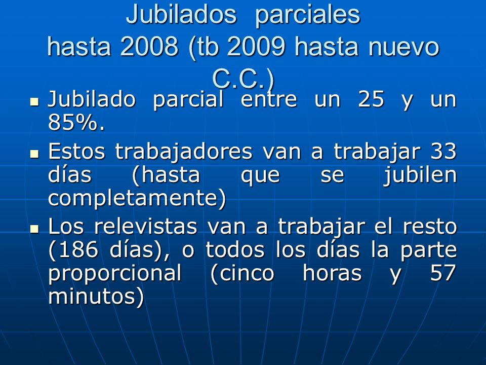 Jubilados parciales hasta 2008 (tb 2009 hasta nuevo C.C.) Jubilado parcial entre un 25 y un 85%. Jubilado parcial entre un 25 y un 85%. Estos trabajad