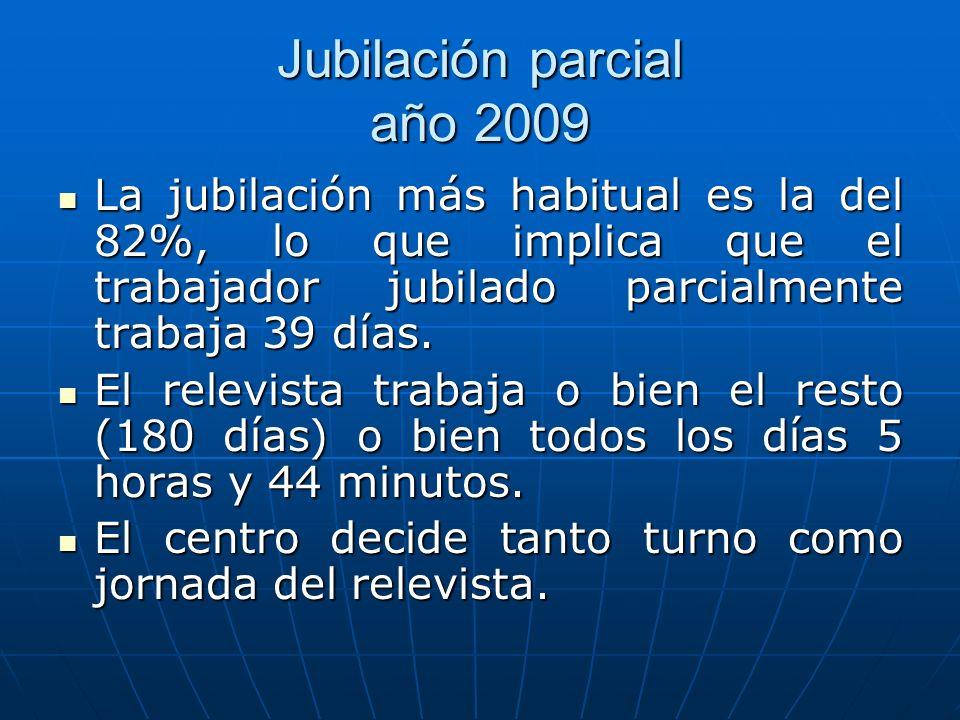 Jubilación parcial año 2009 La jubilación más habitual es la del 82%, lo que implica que el trabajador jubilado parcialmente trabaja 39 días. La jubil